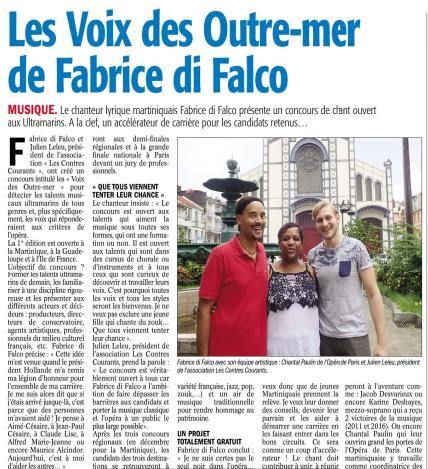 Le chanteur lyrique martiniquais Fabrice di Falco présente un concours de chant ouvert aux Ultramarins. A la clef, un accélérateur de carrière pour les candidats retenus...